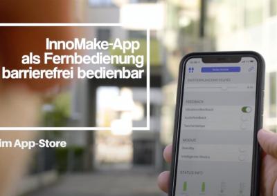 Bild: InnoMakeApp mit Smartphone, Bluetooth Symbol. Text: InnoMake-App als Fernbedienung barrierefrei bedienbar, erhältlich im App-Store