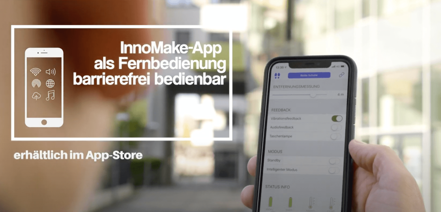 Image: InnoMake App with smartphone, Bluetooth symbol;  Text: Accessible InnoMake App as a remote control, available in the App Store