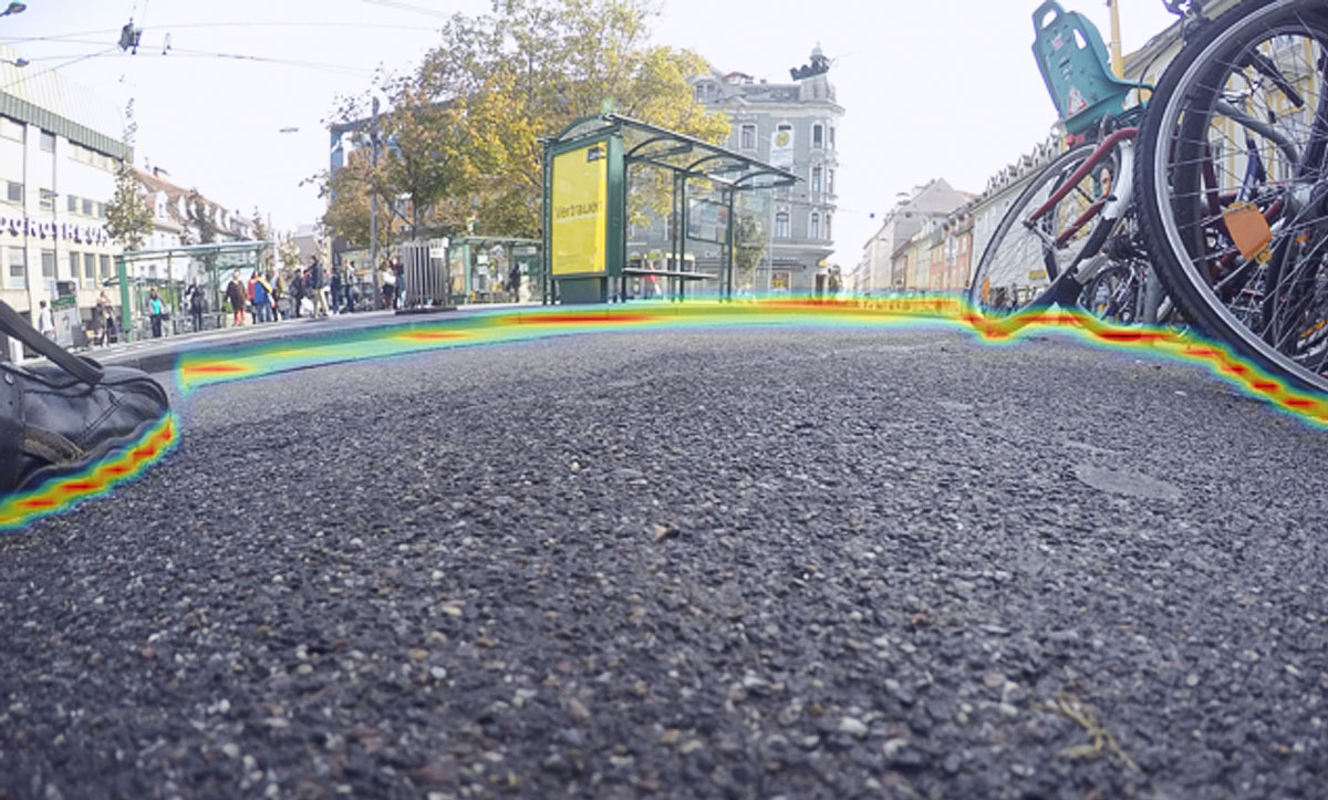 Image: Object detection, bus stop and bicycles marked with warning line